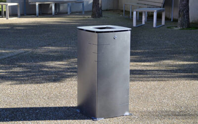 Uniquely-designed urban Block litter bin